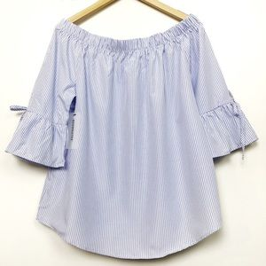 Pin Stripe Blue Off Shoulder Top Bow Ties